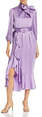 Cinq à Sept Silk Tie-Neck Belted Midi Dress
