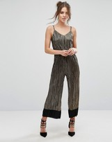 Warehouse Metallic Cami Plisse Jumpsuit