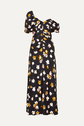 Self-Portrait Off-the-shoulder Floral-print Satin Maxi Dress - Black