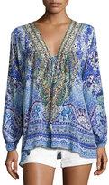 Camilla Embellished Silk Lace-Up Blouse, Guardian of Secrets