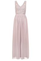 Quiz Mocha Chiffon V Neck Embellished Bodice Maxi Dress