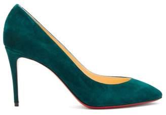 Christian Louboutin Eloise 85 Suede Pumps - Womens - Dark Green