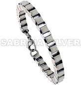 Sabrina Silver Stainless Steel Box Link Bracelet for Women 1/4 inch wide, 7 inch