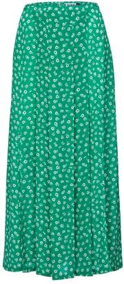 Rixo Claire floral silk midi skirt