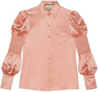 Gucci Silk satin shirt with puff sleeves