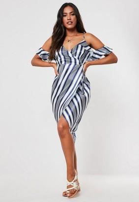 Missguided Blue Stripe Cold Shoulder Wrap Front Dress