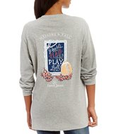 Lauren James Pearls, Plaid, & Play Ball Long Sleeve Graphic Tee