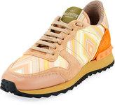 Valentino Striped Leather Sneaker, Orange/Multi