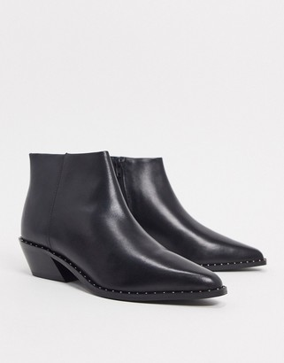 ASOS DESIGN Ariana leather western chelsea boots in black