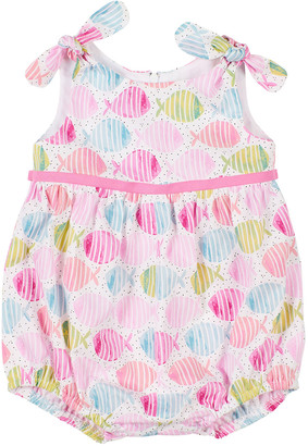Florence Eiseman Girl's Fish Print Romper, Size 3-24 Months