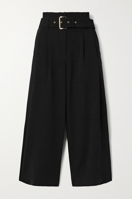MICHAEL Michael Kors Belted Pleated Crepe Culottes - Black