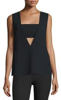 Alexander Wang Sleeveless Crepe Bandeau Top, Black