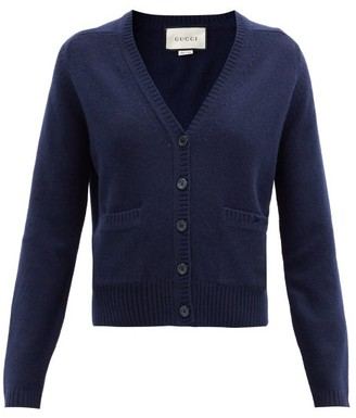 Gucci V-neck Cashmere Cardigan - Navy