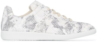 Maison Margiela Snake-Print Low-Top Sneakers