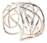 John Hardy Pave Diamond Sterling Silver Bamboo Cuff Bracelet