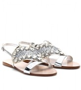 Miu Miu LEATHER SANDALS WITH EMBELLISHED HEART