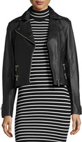 MICHAEL Michael Kors Four-Pocket Leather Biker Jacket, Black