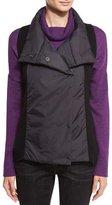 Eileen Fisher Parka-Trim Funnel-Neck Vest, Black