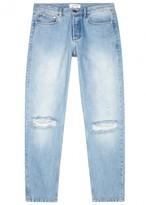 Soulland Erik Light Blue Distressed Straight-leg Jeans