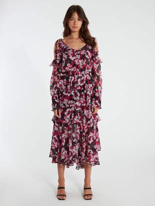 MISA Catriona Off the Shoulder Midi Dress