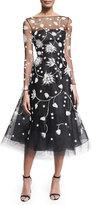 Oscar de la Renta Embroidered Illusion Tulle Midi Dress, Black/White