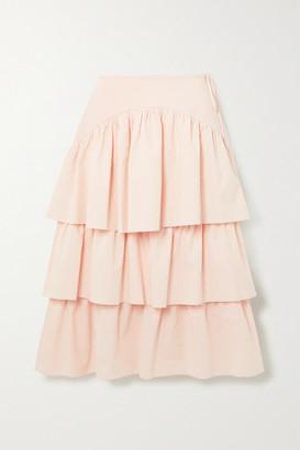 See by Chloe Tiered Striped Cotton-poplin Midi Skirt - Beige