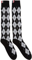 Thom Browne Black Argyle Intarsia Over-the-Calf Socks