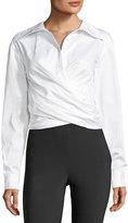 Opening Ceremony Collared Wrap-Front Sateen Shirt