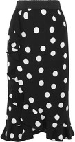 Dolce & Gabbana Ruffled Polka-dot Stretch-silk Charmeuse Skirt - Black