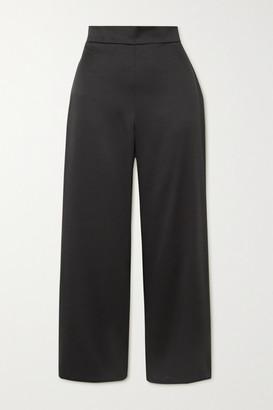 Max Mara Leisure Washed-satin Straight-leg Pants - Black
