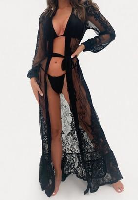 Missguided Premium Black Lace Frill Hem Maxi Kimono