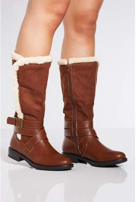 Quiz Tan Faux Fur Trim Buckle Calf Boots