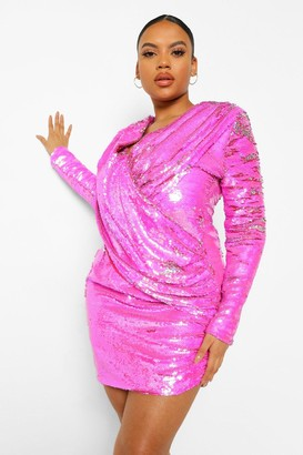 boohoo Plus Sequin Draped Long Sleeve Mini Dress