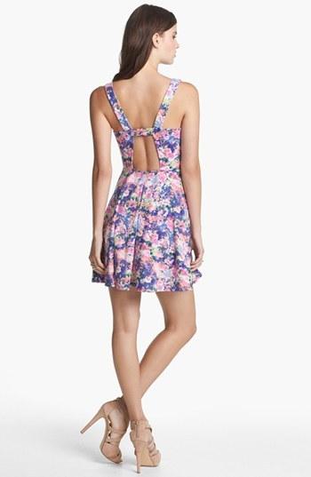 Soprano Back Cutout Print Skater Dress (Juniors)