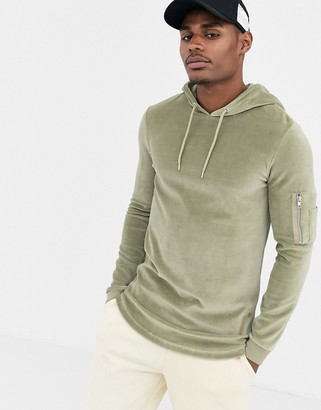 Asos Design DESIGN muscle hoodie in khaki velour with MA1 pocket-Green