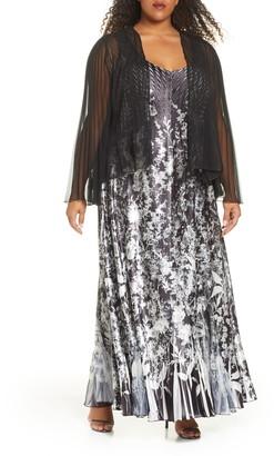 Komarov Floral Charmeuse & Chiffon Maxi Dress & Jacket