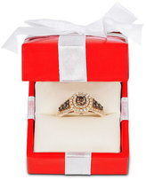 LeVian Le Vian Chocolatier® Chocolate Diamond and White Diamond Halo Ring (3/4 ct. t.w.) in 14k Rose Gold