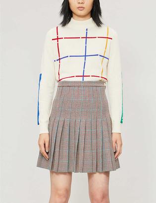 Benetton Checked-pattern wool-blend jumper