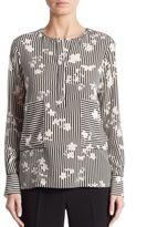 Altuzarra Carnegie Negative Floral-Print Silk Blouse