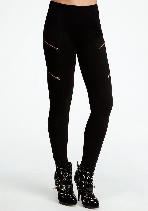 Bebe Diagonal Zipper Leggings