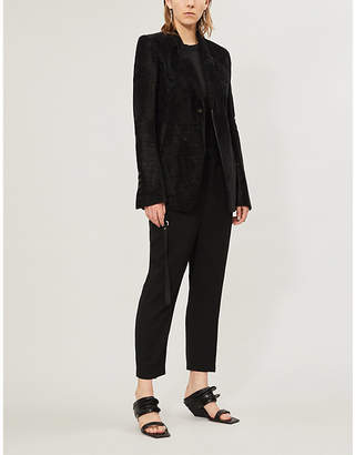 Rick Owens Peak-lapels padded-shoulders cotton-linen blend blazer