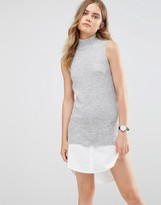 Noisy May High Neck Knit Dress with Shirt Hem