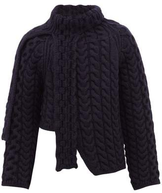 Lanvin Asymmetric Cable Knit Wool Sweater - Mens - Navy