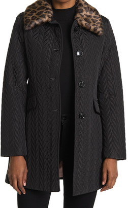 Kate Spade Quilted Faux Fur Collar Jacket