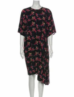 Public School Floral Print Midi Length Dress Black