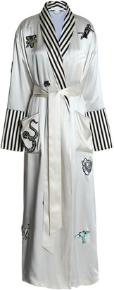 Olivia von Halle Striped-trimmed Appliqued Silk-satin Robe