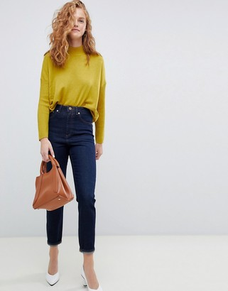 ASOS DESIGN Recycled Farleigh high waisted slim mom jeans in one year aged stonewash