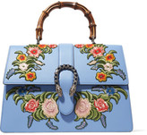 Gucci Dionysus Bamboo Large Appliquéd Leather Tote - Light blue