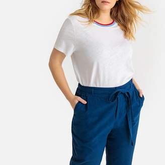La Redoute Collections Plus Short-Sleeved T-Shirt with Contrasting Crew-Neck