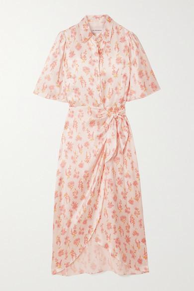 Les Rêveries Ruffled Floral-print Silk-satin Wrap Midi Dress - White